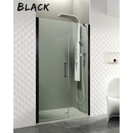 OPEN BLACK COMBI E, puerta abatible con cierre a fijo perfiles negros