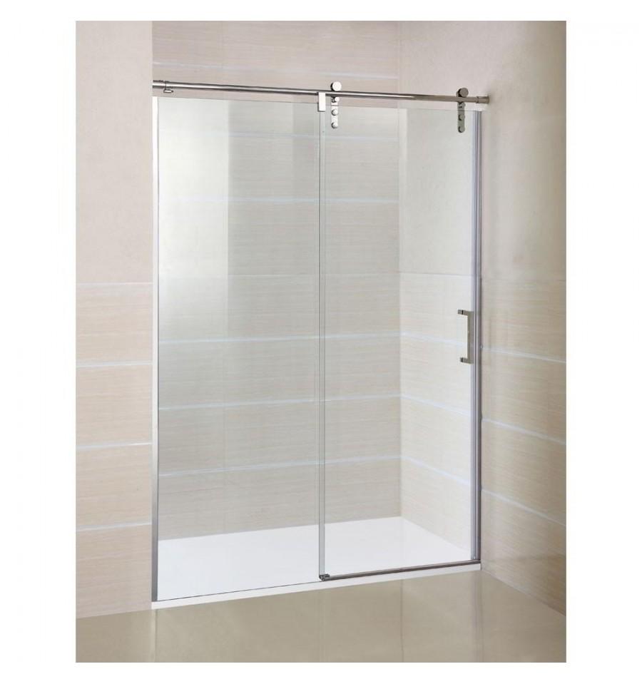 Frontal de ducha moving con puertas de cristales correderas for Puerta corrediza para ducha