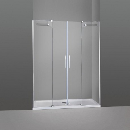 Mampara de ducha frontal Vetrum 2 fijos mas 2 puertas correderas GME