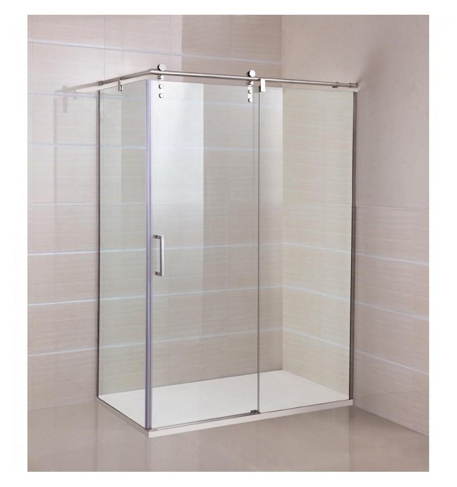 Frontal de ducha moving con puertas de cristales correderas - Cristal fijo para ducha ...