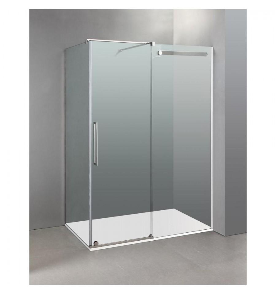 Frontal de ducha de dise o vetrum fijo m s puerta corredera - Mamparas de ducha plegables ...