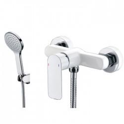 Grifería ducha CASSIO blanco/cromo/cromo con kit de ducha